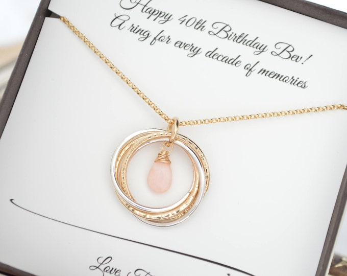 40th Birthday gift for women, Pink opal necklace, October birthstone jewelry, 4th Anniversary gift, 4 Sisters gift, 4 Best friends gift