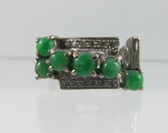 Vintage Jade and Diamond ring, 14k Art Deco Ring, diamond and jade ring, white gold diamond ring, size 6