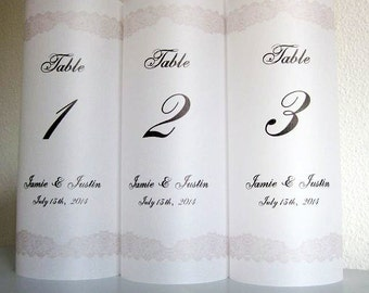 Wedding Luminaries, Personalized Wedding Luminary Table Numbers with Lace Border