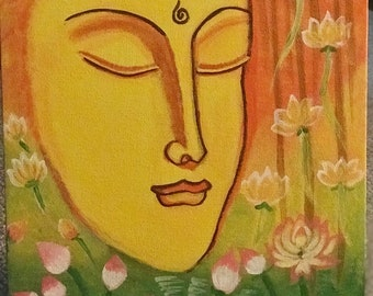 Canvas Buddha Painting - framed and sent