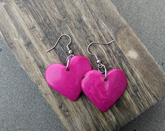 Pink Tagua Nut Heart Shaped Earrings ~ Heart Jewelry ~ Fuchsia Pink Earrings ~ Hearts ~ Eco Friendly Sustainable Materials ~ Romantic Gift
