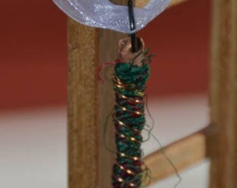 Handmade necklace pendant with recycled copper wire and recycled sari silk