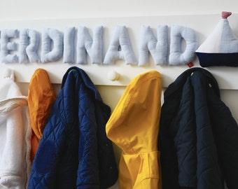 Boys coat hooks with name and boat, personalised baby gift, blue, coat hooks, coat rack, coat peg, wardrobe