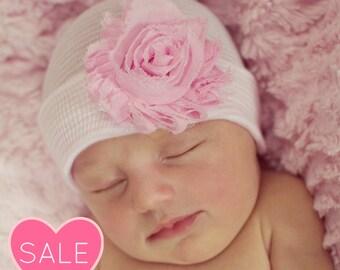 Pink Newborn Hat with Bow Newborn Hat Newborn Beanie Newborn Cap Bow coming home hat fancy baby girl hat baby hat girl hospital hat - Pink