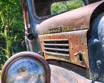Vintage Retirement - Vintage Dodge Truck - Rustic Wall Art - 8x10 Prints - Retro Print - Vintage Truck - Rust - Blue - Garage Art