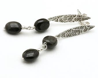 Black Obsidian Stamped Sterling Silver Minimalist Post Earrings   Textured Dangle Earrings   for her Under 90 Free Gift Wrap