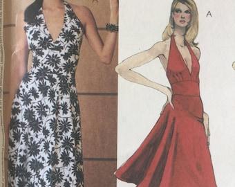 Sewing pattern - Evening Dress Pattern - Halter Neck  Dress Sewing Pattern - Slim or Full Skirt, Size 12-14-16-18