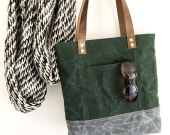 Waxed Canvas Tote Bag, Green And Grey Tote, Everyday Bag