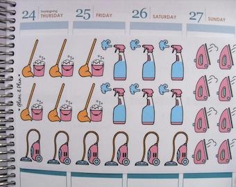 Cleaning Stickers Chore Stickers | Erin Condren Happy Planner Kikki K