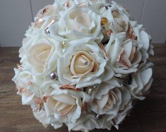 Artificial bridal bouquet,wedding bouquet,rose bouquet,bridesmaids bouquet,beaded detail,wedding keepsake,wedding flowers,unique bouquets