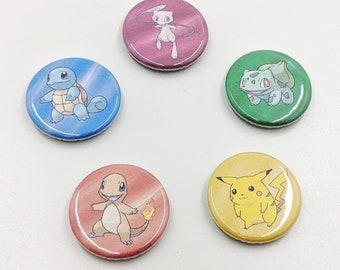 """5 Pack 1.25"""" Pokemon Gen 1 Pin-back Buttons or Magnets featuring Pikachu Bulbasaur Charmander Squirtle Mew"""