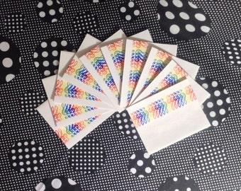 Rainbow Rhythm~Set of 10~Treble Clef~Rainbow~Color Symphony~Eaton~Note Cards~Blank Inside~Vintage~Unused