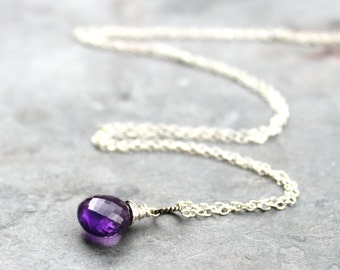 Amethyst Necklace Silver Sterling Gemstone Purple Briolette Necklace Pendant February Birthstone