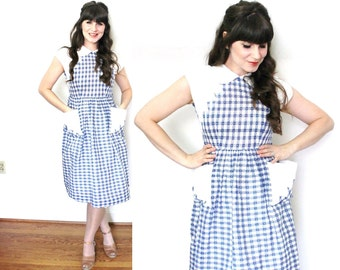 1940s Dress / 40s Day Dress / 1940s Blue and White Gingham Dress