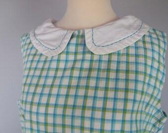 Vintage 60s Peter Pan Collar Shift Dress - Plaid - Plus Size - Large