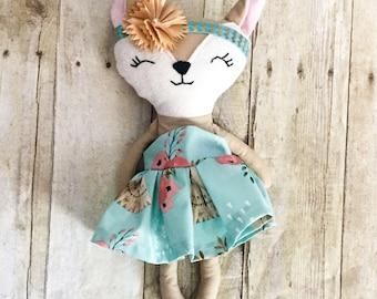 "Ready To Ship 13"" Darla Doe Cloth doll, heirloom doll, woodland doll, woodland nursery, woodland decor, woodland deer, woodland baby shower"
