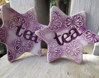 Purple Stars Tea Bag Holder