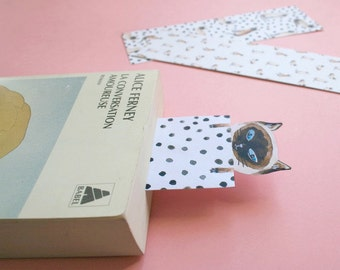 3 Bookmarks, cat, siamese, papergoods, stationery, marque page, chat, chat siamois, livre, papeterie, illustration chat
