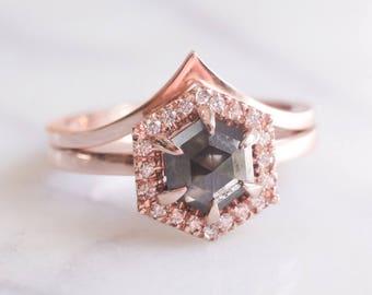 Black Hexagon Diamond Halo Engagement Ring, 14k Rose Gold