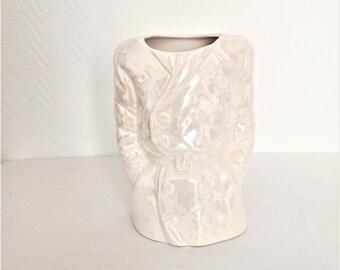 french vintage trench coat shape slightly iridescent white ceramic vase