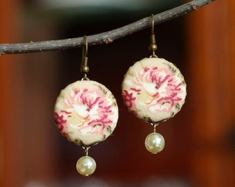 Flowers Dangle Earrings, Antique Roses with Pearls, Pink Beige Tan and Green Romantic Fabric Covered Buttons Earrings, Cottage Chic Jewelry