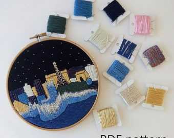 Las Vegas Hand Embroidery pattern PDF. Embroidery Hoop art, Hand Embroidery, Wall Decor, Housewarming Gift. Free Hand embroidery guide!