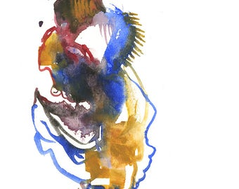 "Original Watercolor Abstract Figure Artwork featuring a Surreal Fashion Illustration 6"" x 6"" - 245"