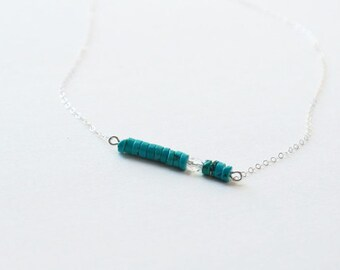 Minimalist Necklace Turquoise Necklace Boho Necklace Sterling Silver Necklace Dainty Necklace December April Birthstone Simple Necklace