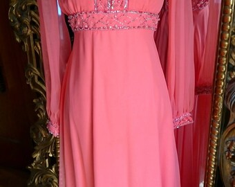 Gorgeous Vintage 1960's Coral Beaded Evening Gown