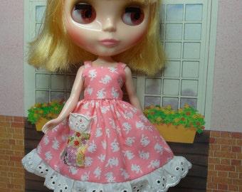 BLYTHE DOLL--Pink Bunny Sundress ONLY --No Doll