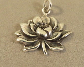 Sterling Silver WATERLILY Charm Pendant Lotus Lily Pad Lilies Bloom Flower Garden Nature Plant Yoga Namaste .925 Sterling Silver New ga55