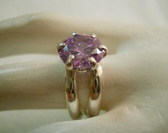 Lavender CZ Diamond Gemstone Ring