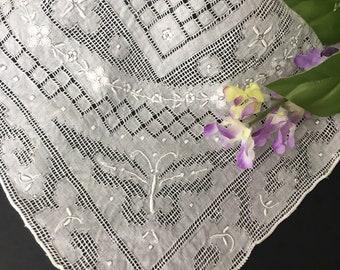 Vintage Antique Embroidered Appenzell Wedding Handkerchief