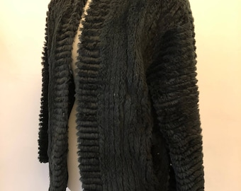 vintage black real fur jacket 1970's, boxy shape
