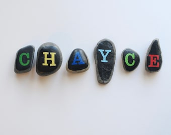 personalized name letter stones
