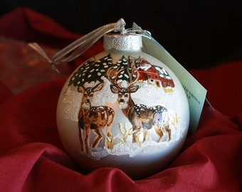 HAND PAINTED ORNAMENT - Two Deer In Snow - Item 163