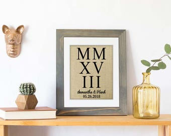 Personalized Roman Numerals Wedding Date Sign, Roman Numerals Sign, Roman Numerals Print, 2nd Anniversary, 4th Anniversary Gift