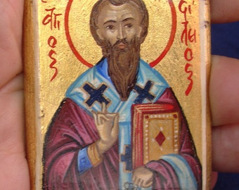 Saint Basil.miniature.byzantine greek religious art.christian orthodox  greek .st basil