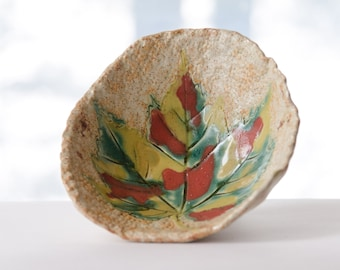 Autumn Maple Leaf Bowl, Stoneware Pottery, Nature Art, Footed Bowl, Coffee Table Dish, Wisconsin Art, Fall Foliage, Autumn Art