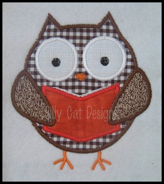 Owl with Book Applique Machine Embroidery Design