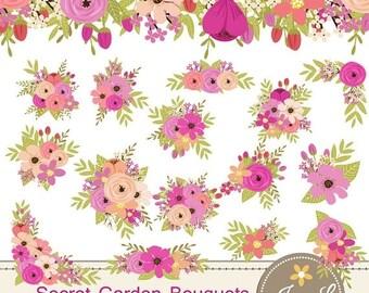 50% OFF Floral Bouquet Clipart, Pink Peach Wedding Flowers, Flower Bunches, Floral Arrangement for digital Scrapbooking, Wedding, Birthday