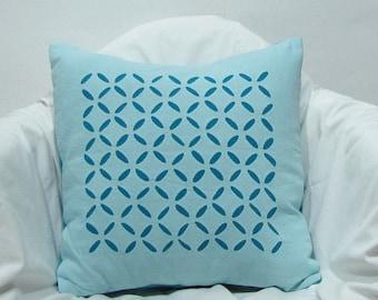 Cushion / Throw Pillow covers Applique. 16 x 16 inches.Teal,Blue-green.pillow case.
