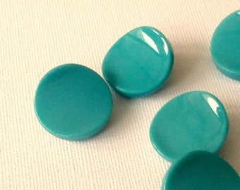 TEAL appeal // Eight Vintage Mid Century  Buttons  Czech Glass //  super smooth  GLOSSY  Teal turquoise   //   22mm  UNused