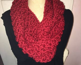 Red Circular Infinity Cowl