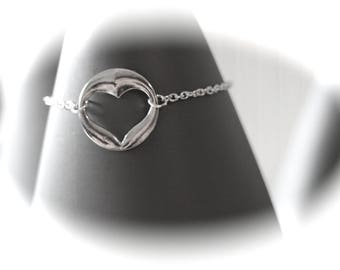 KIT DIY BRACELET smooth silver heart and fine silver metal chain