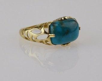14k Yellow Gold Turquoise & Diamond Ring Size 8.25 4.2 Grams!