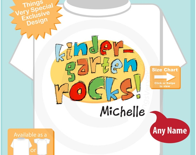 Personalized Kindergarten Shirt Kindergarten Rocks Shirt Child's Back To School Shirt or Onesie (07222015a)