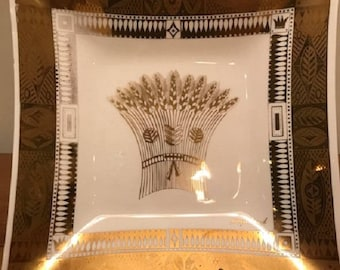 Vintage Mid Century Modern Georges Briard White & Gold Wheat Harvest Tray