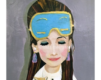 Holly and Cat are Still Waking Up • Breakfast at Tiffanys inspired •limited edition art print • giclee •golightly •hollywood •audrey hepburn