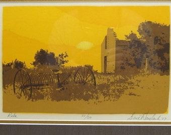 "Gene Wineland 1977 Signed Limited Edition Print ""Rake"" Framed & Matted"